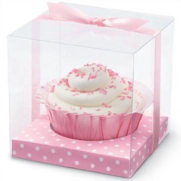 Pack 20 cajas rosas-lunares blancos de presentación transparentes con lazito Wilton