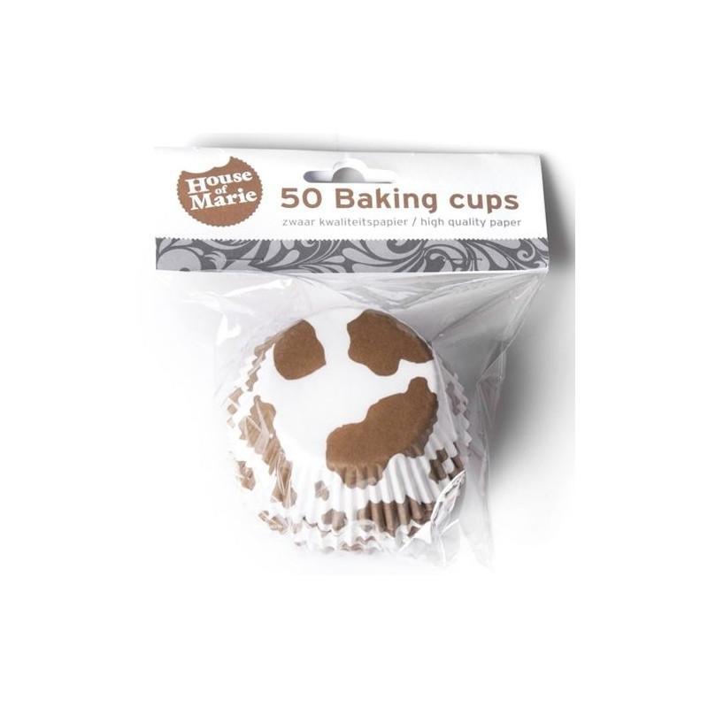Capsulas cupcakes piel vaca marrón-blanca HoM