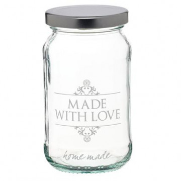 "Bote de cristal decorado ""made with love"""
