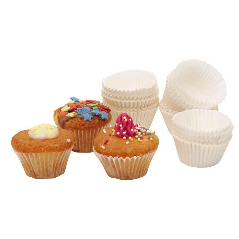 Capsulas mini pastelitos blancos 100 unidades