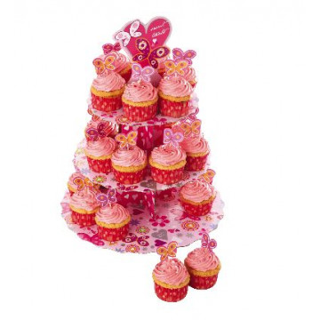 Cupcakes set stand expositor + 24 fundas mariposas