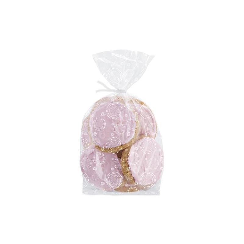 Bolsas para galletas, piruletas pack 20 unidades motivos de círculos blancos Wilton