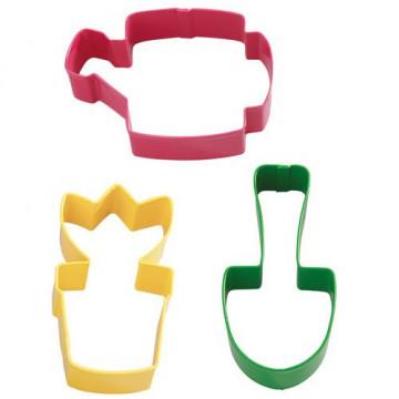 Cortante pack 3 cortantes galleta: Regadera, Maceta y Pala