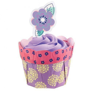Set para cupcakes: Flower Pot Violeta Wilton