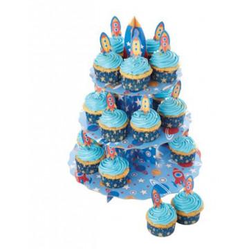 Cupcakes set stand expositor + 24 fundas Rocket