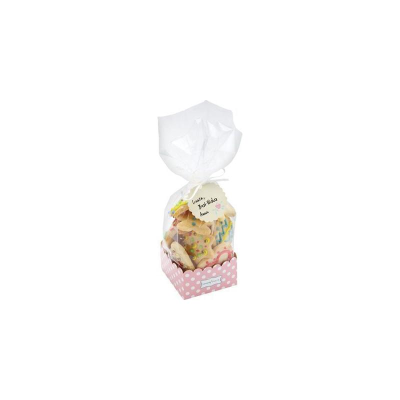 Bolsas para galletas, piruletas + base Rosa lunares pack 6 unidades Sweet does It
