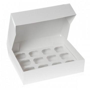 Caja 12 cupcakes + interior Blanca