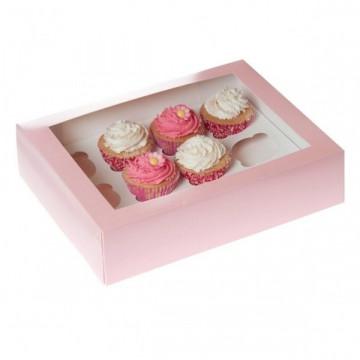 Caja 12 cupcakes + interior, Rosa con ventana