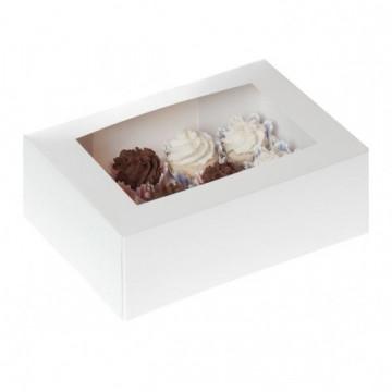 Caja 12 minicupcakes + interior Blanca con ventana