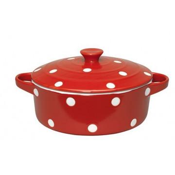 Cacerola con tapa redonda de cerámica Mediana Red Dot Green Gate