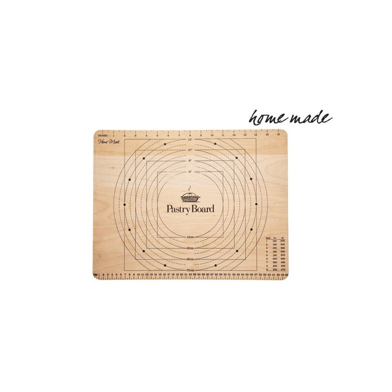 Plancha para estirar masas con medidas de madera Home Made Kitchen Craft