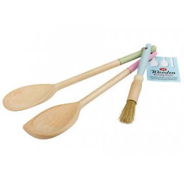 Juego 3 utensilios de madera con mango colores pasteles Tala