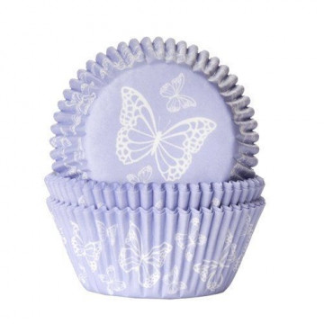 Capsulas cupcakes Lila con mariposa blanca HoM