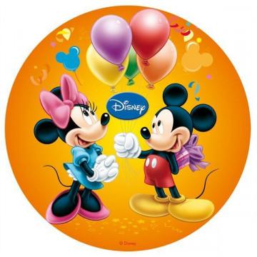 Oblea comestible Minnie y Mickey Mouse Cumpleaños