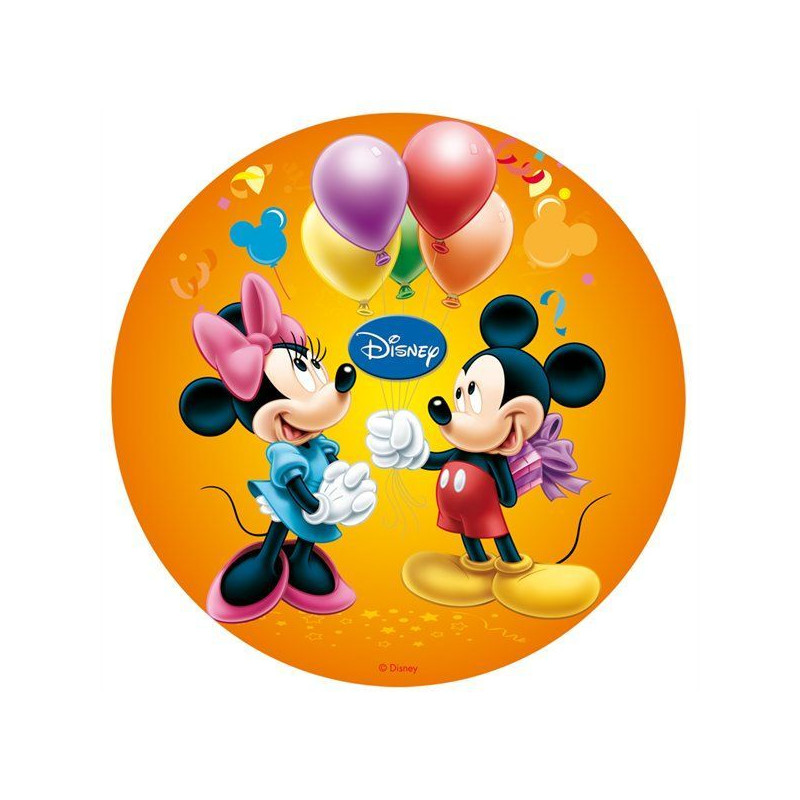 Oblea Comestible Minnie Y Mickey Mouse Cumpleanos