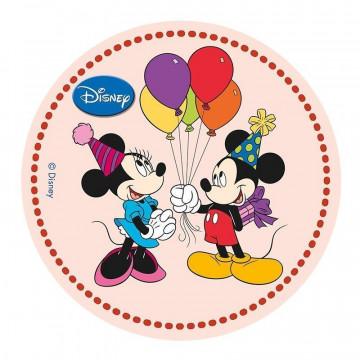 Oblea comestible Mickey y Minnie Globos