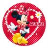 Oblea comestible Minnie Mouse Coqueta Margaritas Rojo