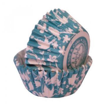 Capsulas cupcakes Pajaritos y Flores Turquesa SK