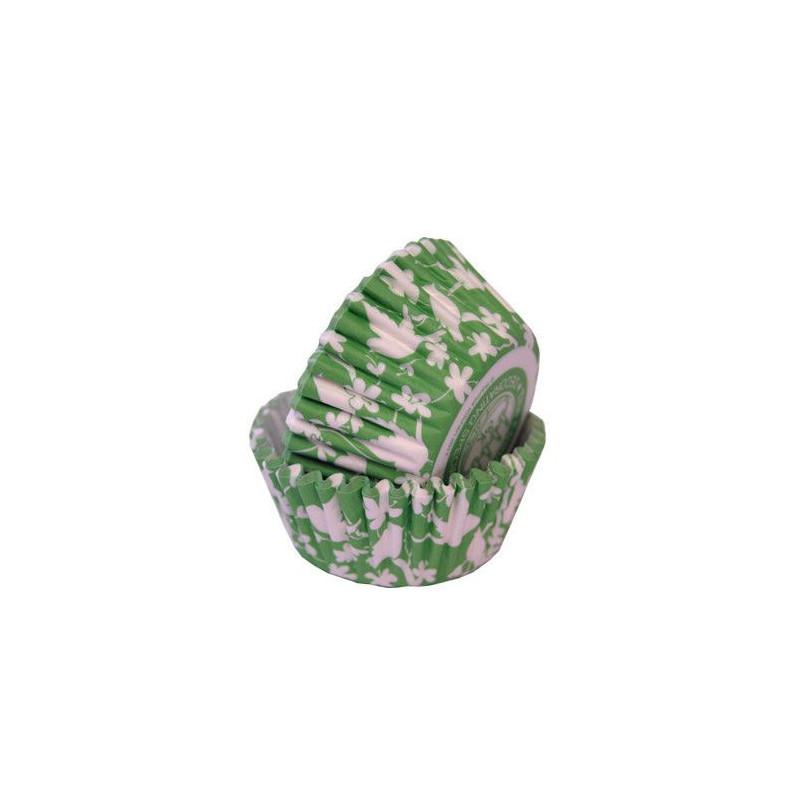 Capsulas cupcakes Pajaritos y Flores Verde Celadón SK