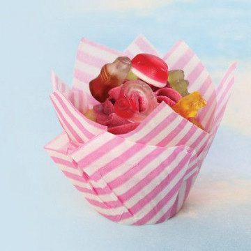 Capsulas Muffins Rayas Rosas SK