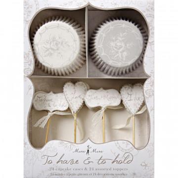 Set cupcakes +  toppers Bodas Plata