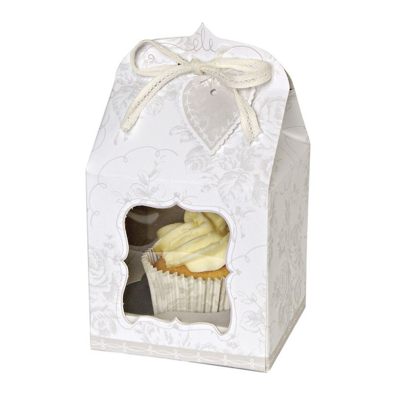 Cajas pack 4 cajas cupcakes individuales Boda Plata