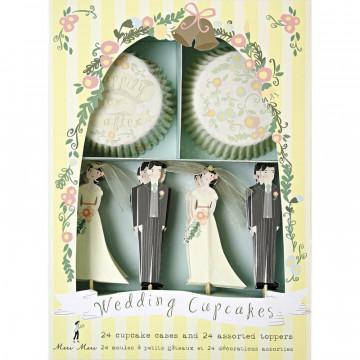 Set cupcakes +  toppers colección Wedding Cupcakes Meri Meri