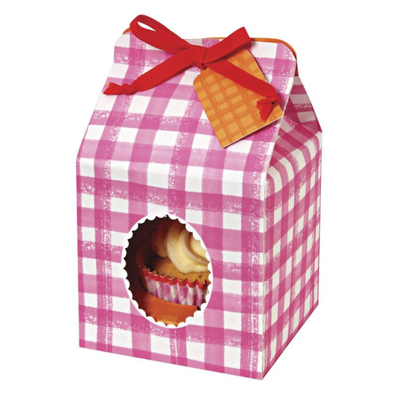 Cajas pack 4 cajas cupcakes individuales colección Pink Gingham Meri Meri