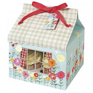 Cajas pack 3 cajas cupcakes para 4 cupcakes colección Floral and Gingham Meri Meri