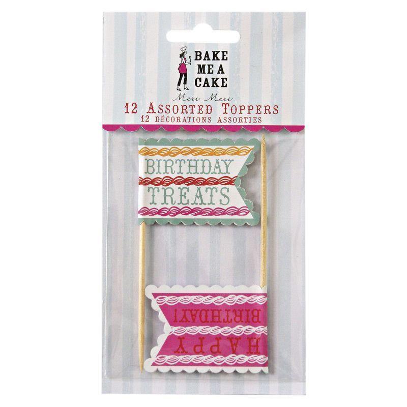 Pack de 12 toppers colección Birthday Treats Meri Meri