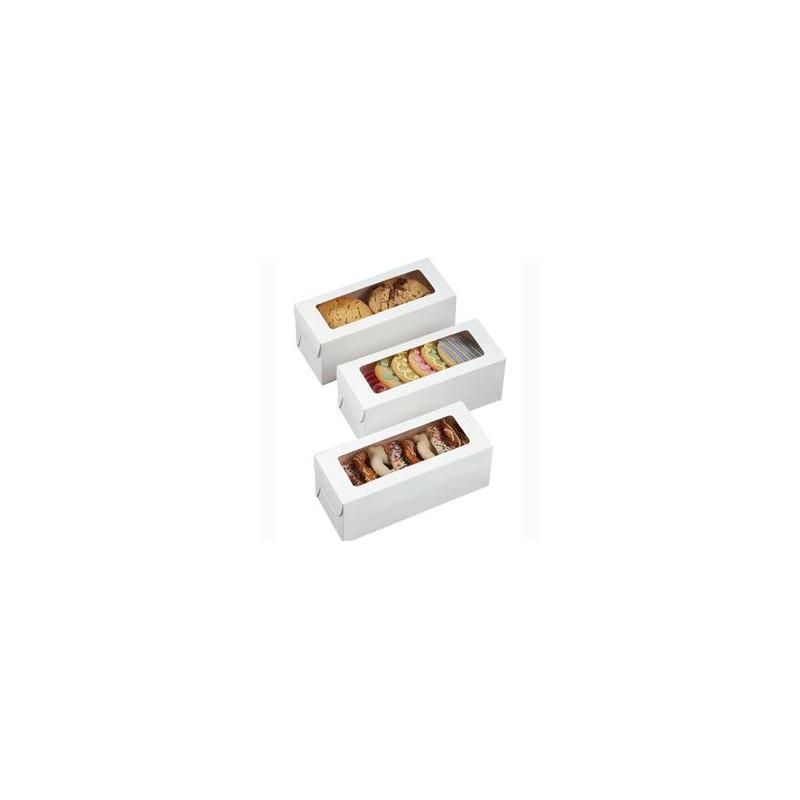 Cajas, Pack 3 cajas blancas rectangulares con ventana para galletas y dulces