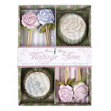 Set cupcakes +  toppers colección Vintage Rose Meri Meri