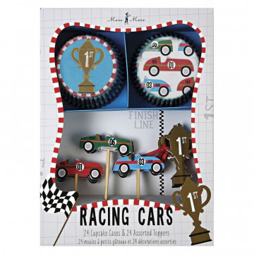 Set cupcakes + toppers colección Racing Car Meri Meri