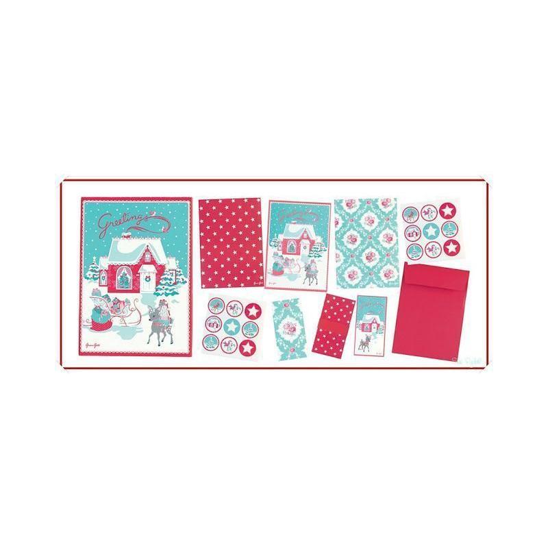 Kit Navidad Tarjetas,Bolsas y Pegatinas Greetings Green Gate