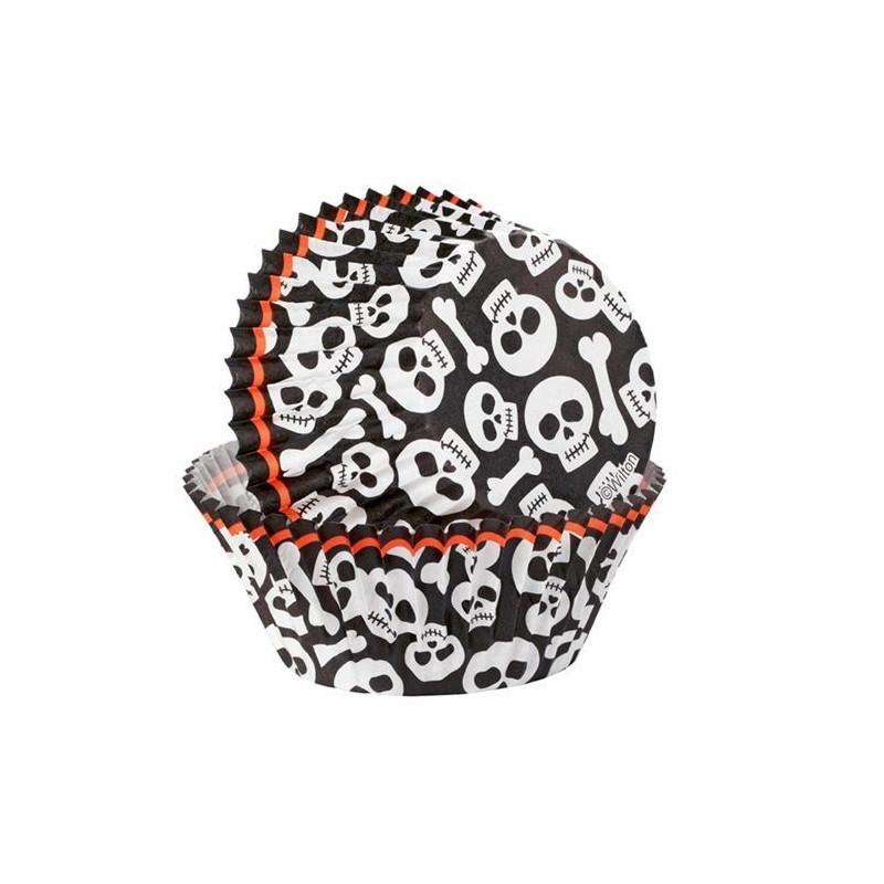 Capsulas cupcakes Calaveras y Huesos Wilton
