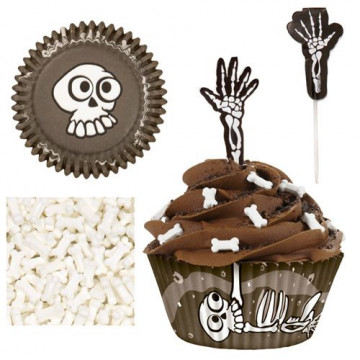Set decoración para cupcakes: Skeleton Halloween Wilton