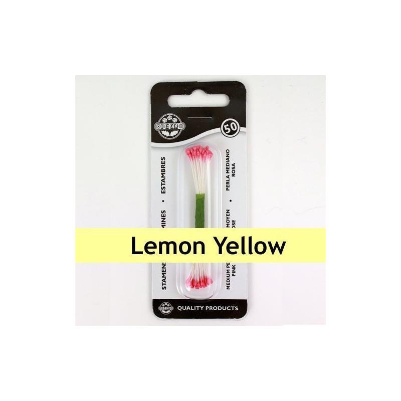 Estambre grande color amarillo limón 50 piezas JEM