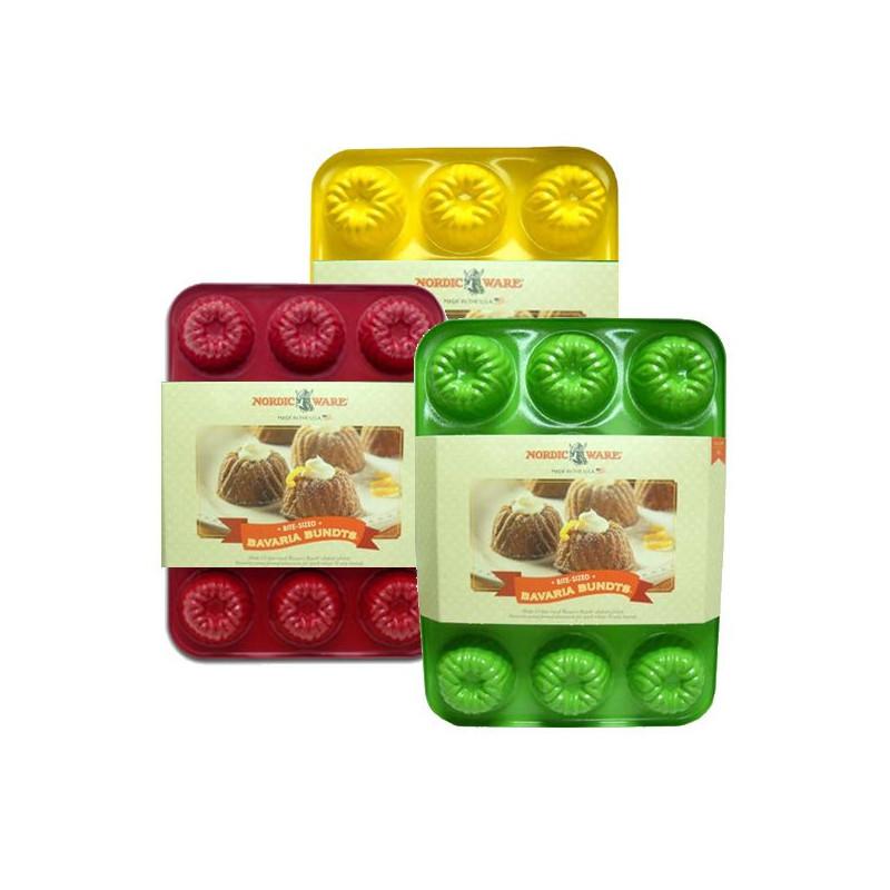 Molde mini bizcochos 12 cavidades Bavaria Brownie Color Rojo Nordic Ware