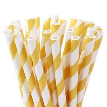 Pajitas de papel Blancas con lineas amarillas Hom