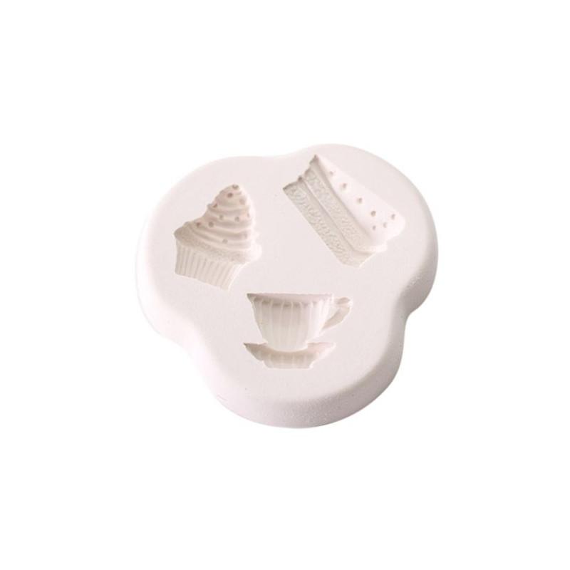 Molde de silicona Teatime Treat: taza, cupcake y trozo de tarta SK