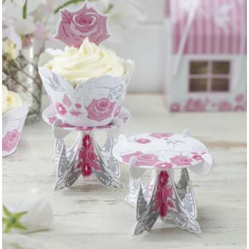 Stand de presentación cupcakes individual  pack 3 Rosas y Palomas
