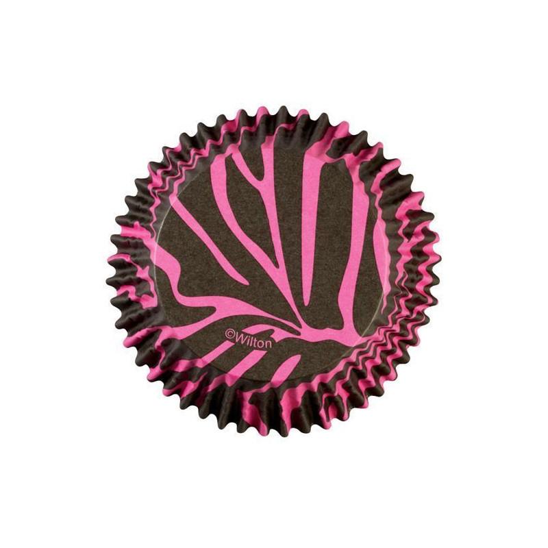 Cápsulas cupcakes antigrasa Cebra Rosa Wilton