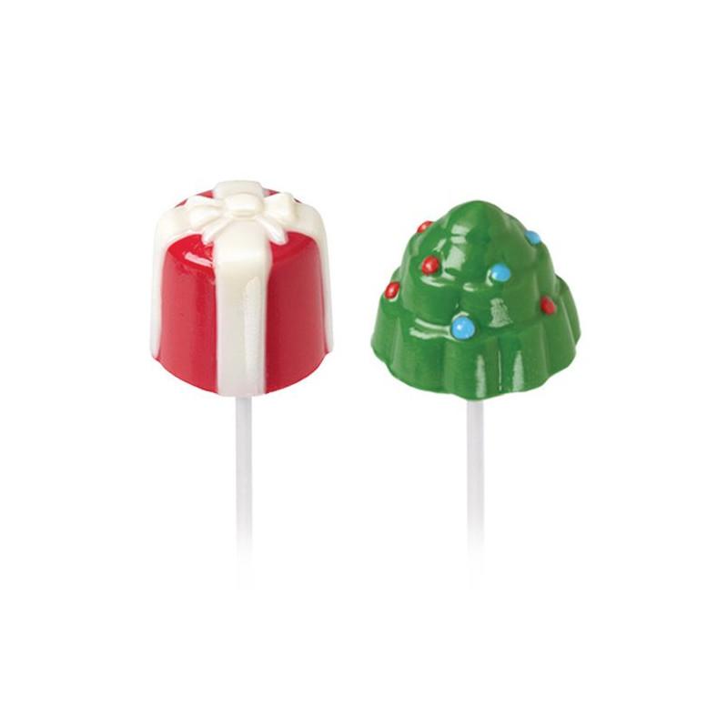 Molde piruleta para Marshmallow: Árbol y Regalo Navidad Wilton