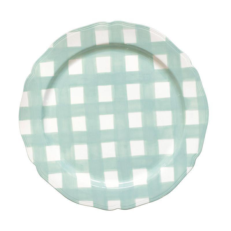 Plato de cerámica grande servir Check Mint Green Gate