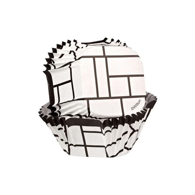 Capsulas cupcakes cuadrado Cuadros Blanco y Negro Wilton