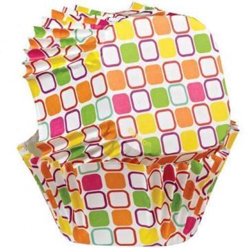 Capsulas cupcakes cuadrado Cuadros Colores Wilton
