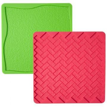 Molde silicona Texturas: Hierba y Ladrillos Wilton