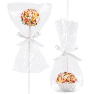 Kit decoración: Bolsas, Cápsulas y Lazo Blanco Cakepops Wilton