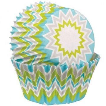 Capsulas mini cupcakes Chevron Lima Wilton