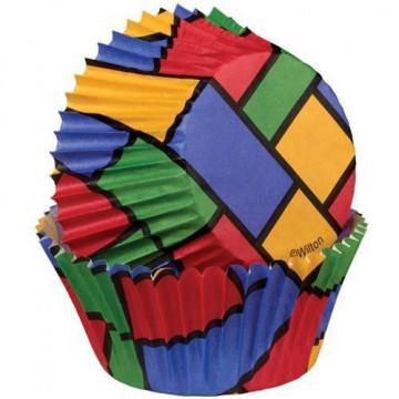 Capsulas mini cupcakes Cuadros Colores Wilton